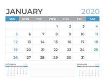 Januari 2020 kalendermall, format för skrivbordkalenderorientering 8 x 6 tum, stadsplaneraredesign, veckastarter på söndag, brevp vektor illustrationer