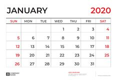 Januari 2020 kalendermall, format 9 f royaltyfri illustrationer