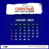 2019 Januari kalendermall Glad jul och det lyckliga nya ?ret sl?sar bakgrund stock illustrationer