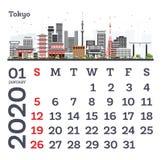Januari 2020 kalendermall med Tokyo stadshorisont vektor illustrationer