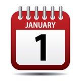 Januari 1 kalendersida vektor illustrationer