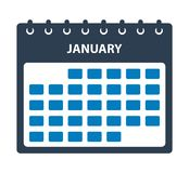 Januari kalendersymbol royaltyfri illustrationer