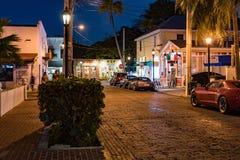 24,2017 januari Key West, FL Straatscène bij nacht Royalty-vrije Stock Afbeeldingen