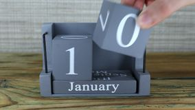 10 Januari, kubuskalender stock video
