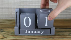 1 Januari, kubuskalender stock footage