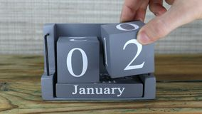 2 Januari, kubuskalender stock footage