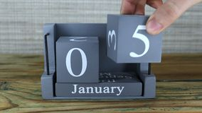 5 Januari, kubuskalender stock video