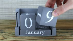 9 Januari, kubuskalender stock footage