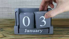 3 Januari, kubuskalender stock footage