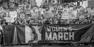 21 JANUARI, 2017, LOS ANGELES, CA 750.000 nemen aan Maart van Vrouwen deel, activisten die Donald J protesteren Troef in grootste Royalty-vrije Stock Foto