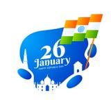 26 Januari, lycklig design för kort för hälsning för republikdagberöm vektor illustrationer