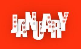 Januari månadnamn vektor illustrationer