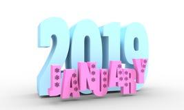 Januari månadnamn royaltyfri illustrationer