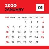 Januari 2020 mall, skrivbordkalender f?r 2020 ?r, veckastart p? s?ndag, stadsplaneraredesign, brevpapper, vektor f?r kalenderorie royaltyfri illustrationer