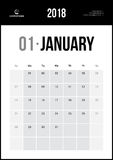 Januari 2018 Minimalist väggkalender Arkivbilder