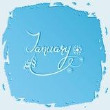 januari Namn av månaden med granen och snöflingor bokstäver royaltyfri illustrationer