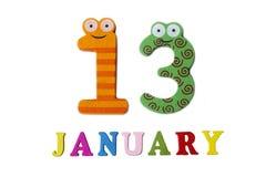 Januari 13 på vita bakgrund, nummer och bokstäver Royaltyfri Fotografi