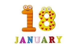 Januari 18 på vita bakgrund, nummer och bokstäver Royaltyfri Foto