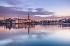 21 januari, 2017: Panorama van de oude stad van Stockholm genomen Fr Royalty-vrije Stock Afbeelding