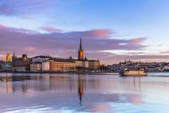 21 januari, 2017: Panorama van de oude stad van Stockholm genomen Fr Stock Foto's