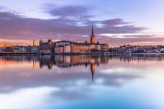 21 januari, 2017: Panorama van de oude stad van Stockholm genomen Fr Royalty-vrije Stock Fotografie