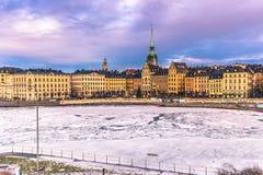21 januari, 2017: Panorama van de oude stad van Stockholm, Zweden Royalty-vrije Stock Afbeeldingen