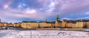 21 januari, 2017: Panorama van de oude stad van Stockholm, Zweden Royalty-vrije Stock Foto's