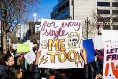 20 januari, 2018 San Francisco/CA/de V.S. - onderteken het tonen van #metoo en #timesup de berichten Stock Foto