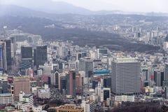 29 Januari 2016, Seoel, Republiek Korea Cityscape van Seoel, horizon Stock Foto's