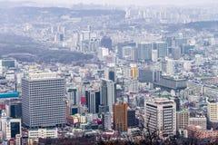 29 Januari 2016, Seoel, Republiek Korea Cityscape van Seoel, horizon Stock Fotografie