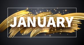 Januari skinande kort med guld- borsteslaglängddesign stock illustrationer