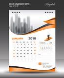 Januari skrivbordkalender 2018 lodlinje för tum för årsformat 6x8 vektor illustrationer