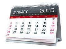 Januari 2016 skrivbords- kalender arkivfoton