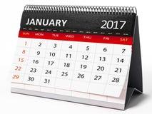 Januari 2017 skrivbords- kalender illustration 3d vektor illustrationer