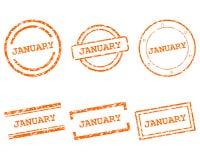 Januari stämplar royaltyfri illustrationer