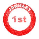 Januari 1st röd färgpulverstämpel royaltyfri illustrationer