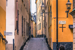 21 januari, 2017: Straten van de oude stad van Stockholm, Zweden Royalty-vrije Stock Afbeeldingen