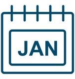 Januari symbol för vektor för dag januari för special händelse som kan lätt ändras eller redigera stock illustrationer