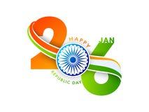 26 Januari text i saffran och grön färg med Ashok Wheel vektor illustrationer