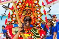 Januari 10th 2016 Boracay Filippinerna Festival ATI-Atihan U Arkivfoton