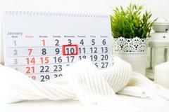 Januari 10th Dag 10 av månaden Arkivbilder