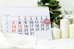 Januari 13th Dag 13 av månaden Fotografering för Bildbyråer