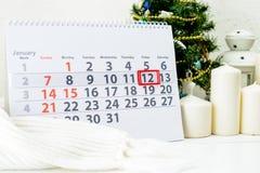 Januari 12th Dag 12 av månaden Arkivbild