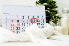 Januari 11th Dag 11 av månaden på den vita kalendern Internationellt D Royaltyfri Foto