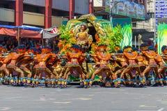 Januari 24th 2016 Iloilo Filippinerna Festival Dinagyang Unid arkivfoto