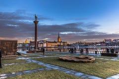 21 januari, 2017: Tuin van het stadhuis van Stockholm, Zweden Stock Foto's