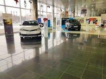 21 januari van de het handel drijventoonzaal van de Oekraïne Kiev Toyota van 2018 de officiële officiële fabrikant Stock Foto's