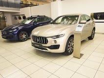 21 januari, van de de Motorshow van de Oekraïne Kiev van 2018 autocar van Maserati zaken Stock Afbeelding