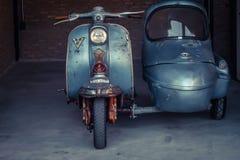 Januari 2019 wordt de oude de motormotor van Bangkok Thailand getoond in museum stock fotografie