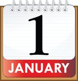 January 1. Illustrated callendar page - January 1 Stock Photography